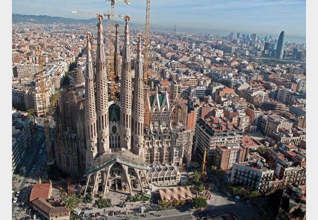 Passion facade: After nearly 130 years, building work continues on Sagrada Familia. It is expected to take several more decades to complete.
